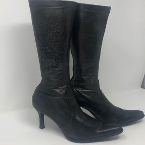 Franco Sarto women's embroidered heeled boots